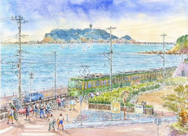 注文制作します 水彩画原画 江の島と江ノ電15(#383)の画像1枚目