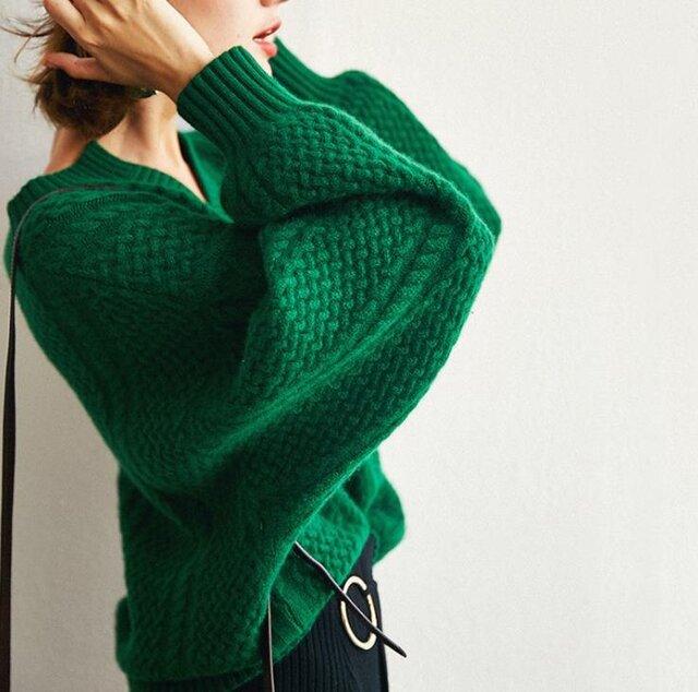 【受注製作】カシミア・セーター ニット オーダーメイド 豊富な色 LS00012の画像1枚目