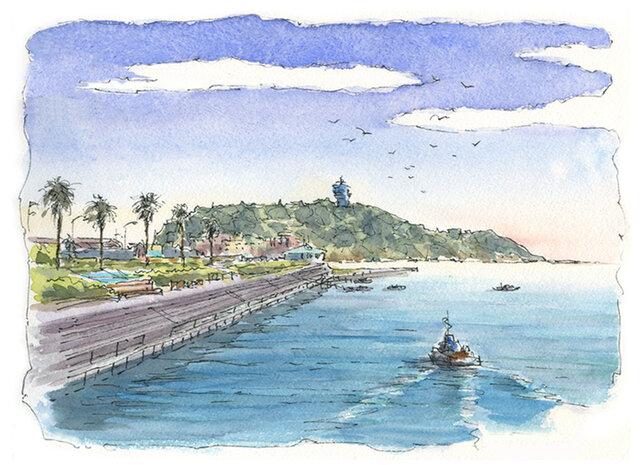 注文制作します 水彩画原画 江の島15(#386)の画像1枚目