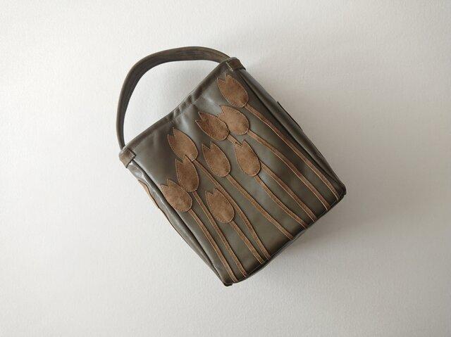 tulip leather one handle bag [moss]の画像1枚目