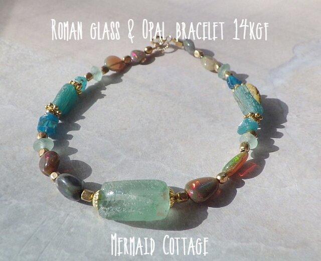 Roman glass & Opal bracelet 14kgfの画像1枚目