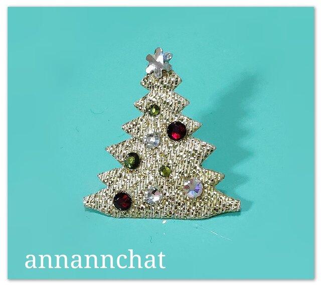 【 クリスマスツリー & スワロフスキー の ピンブローチ】 男性にもの画像1枚目