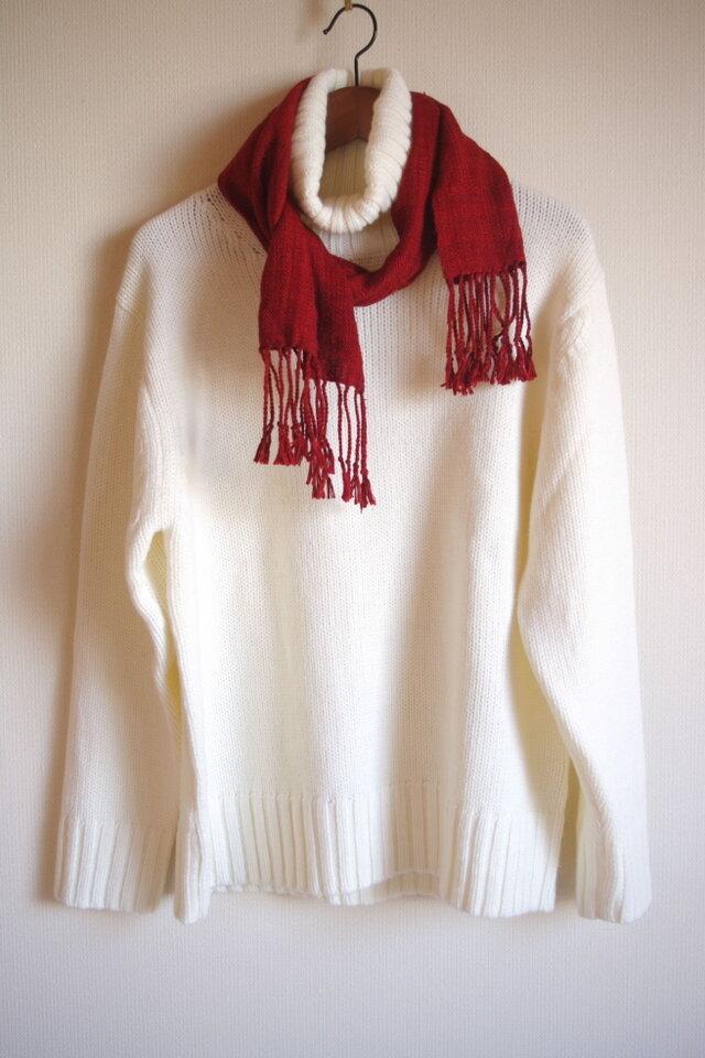 手織り太糸シルクのマフラー・小(幅23㎝×長さ130㎝) 赤茶 の画像1枚目