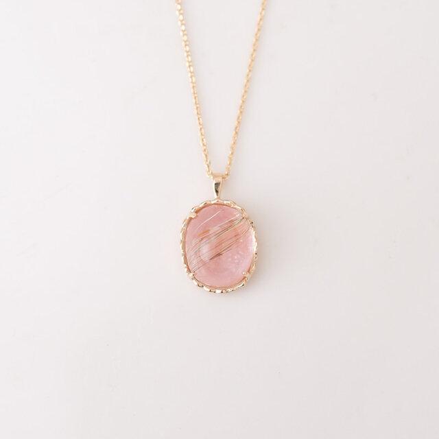 【1点もの】ルチルクオーツ×ピンクオパール K10 ネックレスの画像1枚目