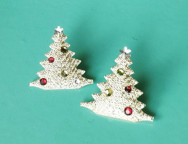 【 クリスマスツリー & スワロフスキー の イヤリング】の画像1枚目