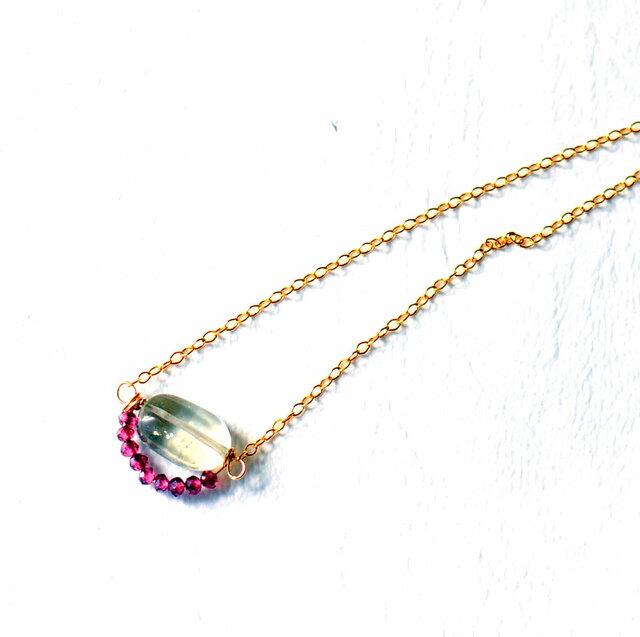 グリーンアメジストと宝石質ガーネットのネックレス 14kgf 送料・ラッピング無料の画像1枚目