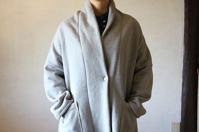 ショールニットジャケット:裏起毛グレーの画像1枚目