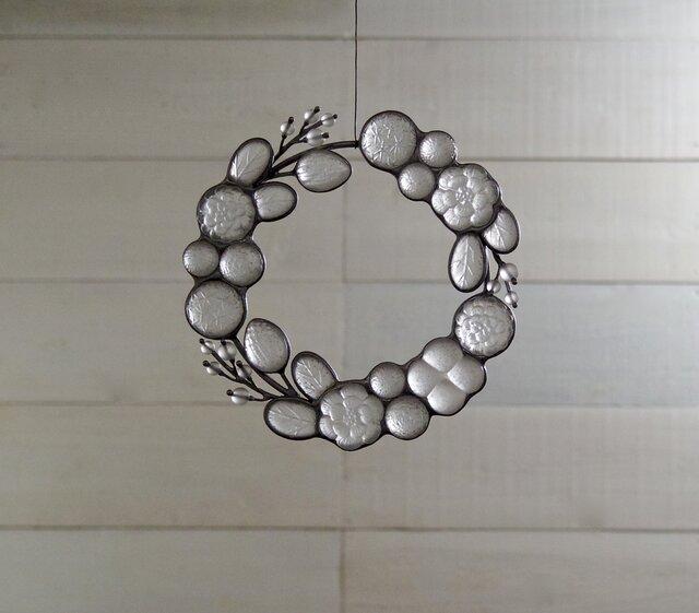 ガラスのリース [透明な冬の植物]Sの画像1枚目