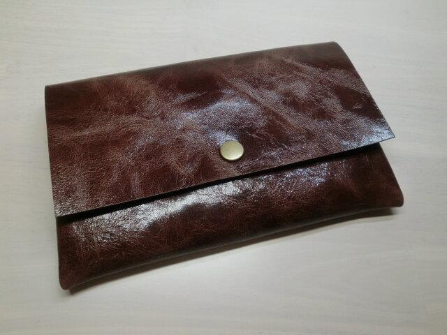 ゴートスキン・一枚革の通帳ケース・カードポケット付き・シワ加工マーブルブラウン・0173の画像1枚目