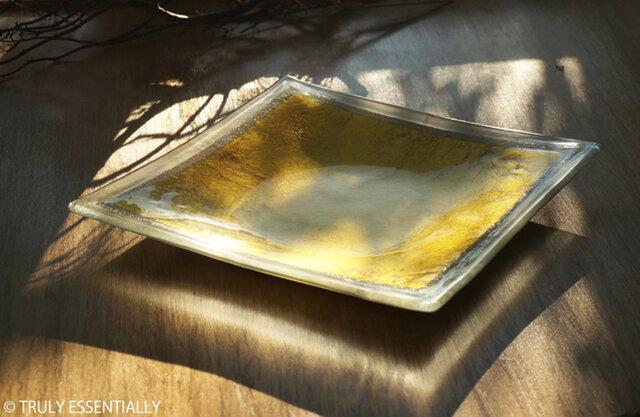 ガラスの大皿 -「 金色のガラス 」● 28cmの画像1枚目