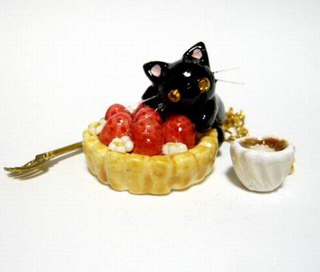 にゃんこのしっぽ○いちごタルトのバッグチャーム○猫○スイーツデコ〇黒猫の画像1枚目