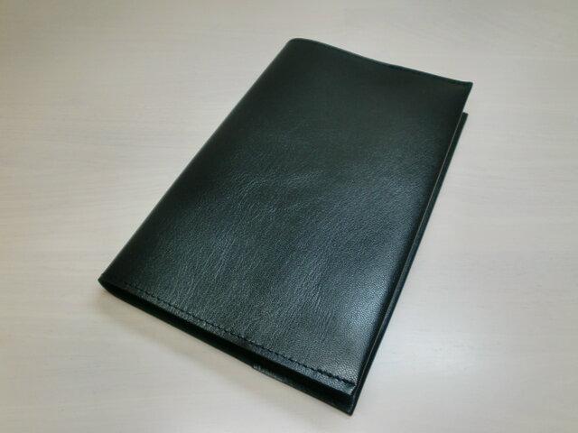 新書サイズ、コミック対応・スムース・ブラック・ゴートスキン・一枚革のブックカバー・0384の画像1枚目