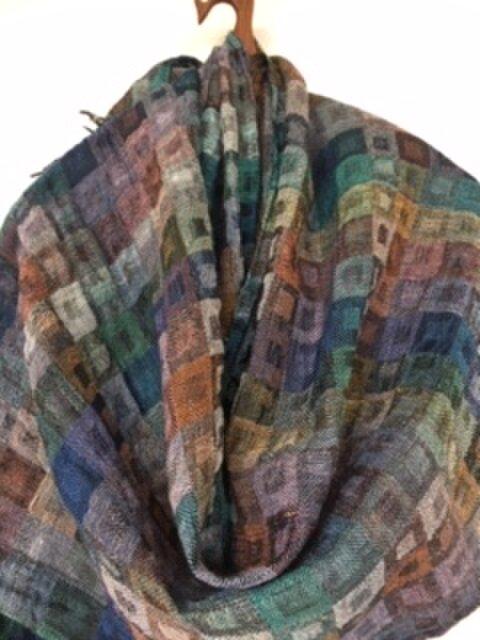 ◆手織/二重織/シルク×リネン×ウール混ストールの画像1枚目