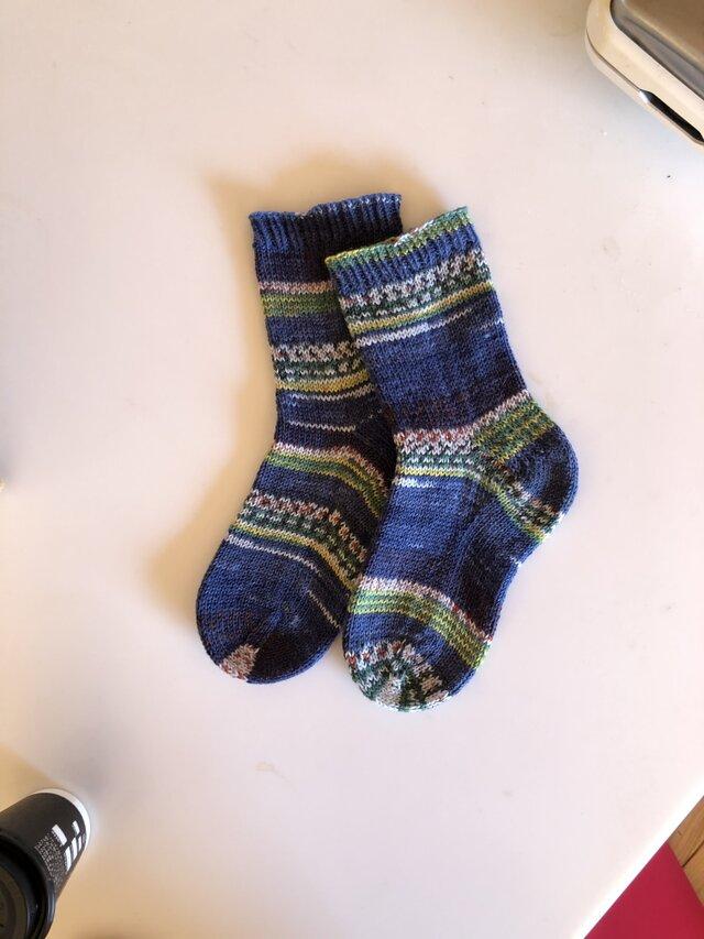 No.221 送料込手編み靴下の画像1枚目