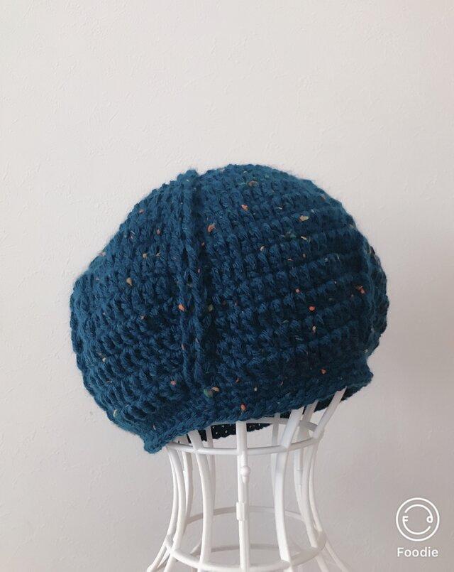 送料無料‼️濃青ツイードのまあるいニット帽の画像1枚目