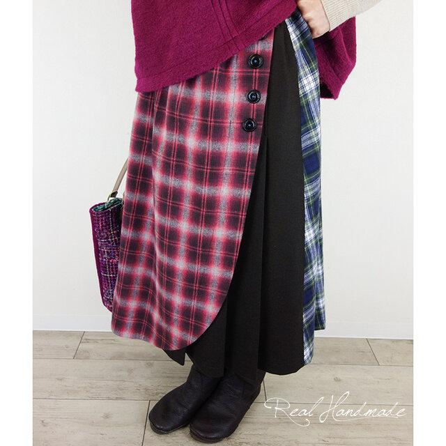 起毛タータンとウールベネシャンラップ風スカートの画像1枚目