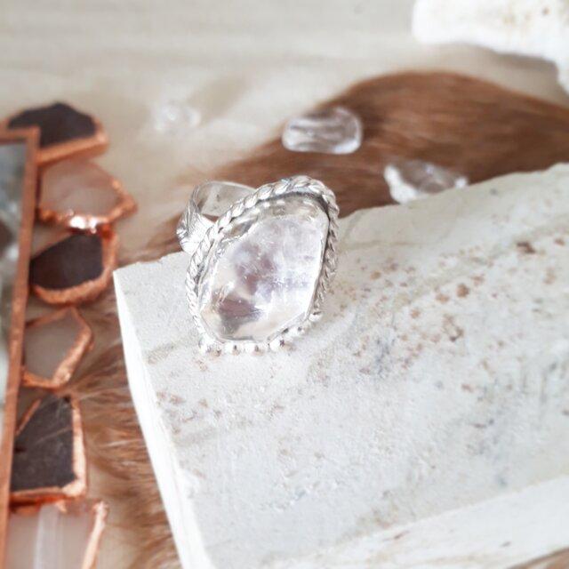 【14号】silver925 crystal tumble ringの画像1枚目