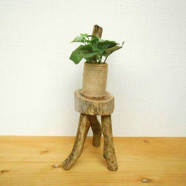 【温泉流木】曲がりのバランスが美しい楕円丸太の椅子型スタンド飾り台 花台 流木インテリアの画像1枚目