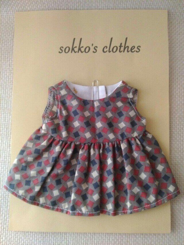 sokko's Dress グレー地に白、紺、小豆色の四角柄の画像1枚目