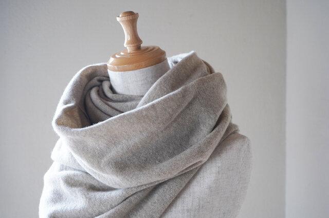 温度を纏う 純カシミヤのふわふわショールストール L/ Beigeの画像1枚目