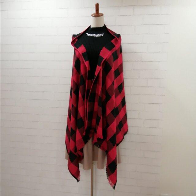 【新作】3wayマフラーショール*赤黒ブロックチェック*播州織の画像1枚目