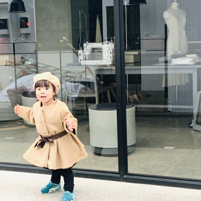 KIDS90-100 アルパカシャギーのドレスコート  ベージュの画像1枚目