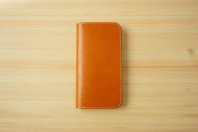 牛革 iPhone 11 カバー  ヌメ革  レザーケース  手帳型  キャメルカラーの画像1枚目