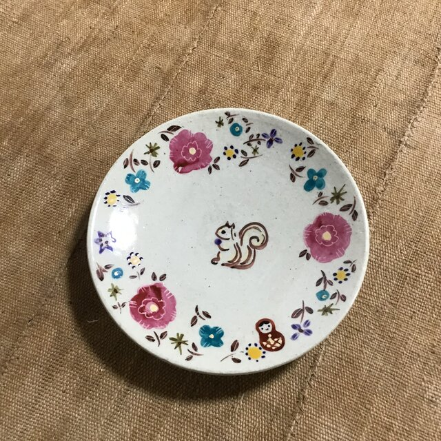 ざおうの森・とっても使いやすい丸皿・リス・ピンクの画像1枚目