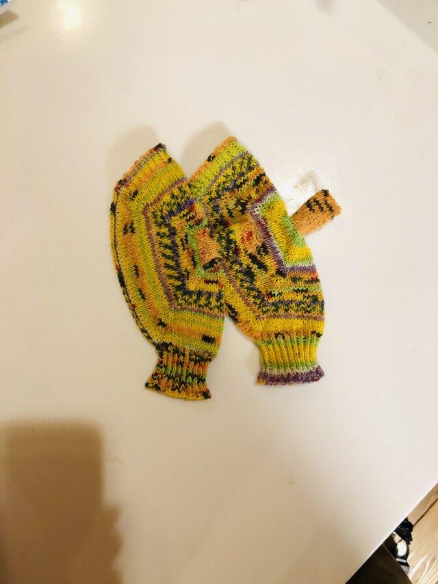 №229 手編みミトン送料込 銀杏並木通りの画像1枚目