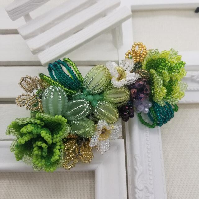 バレッタ Bouquet  (グリーンローズ)の画像1枚目