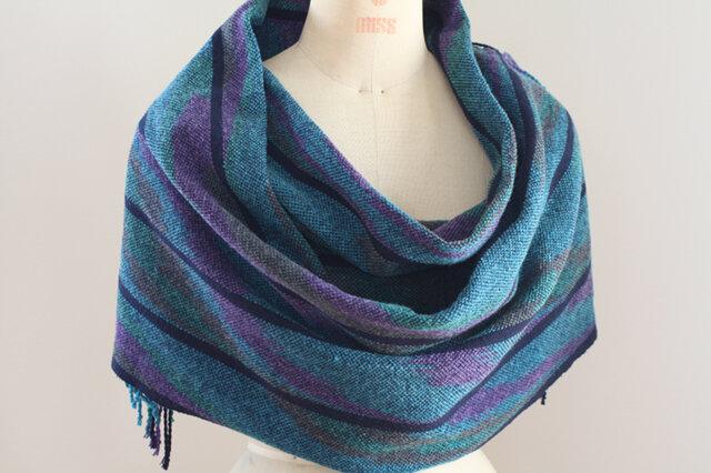 手織り 段染めウールの広巾ショールの画像1枚目