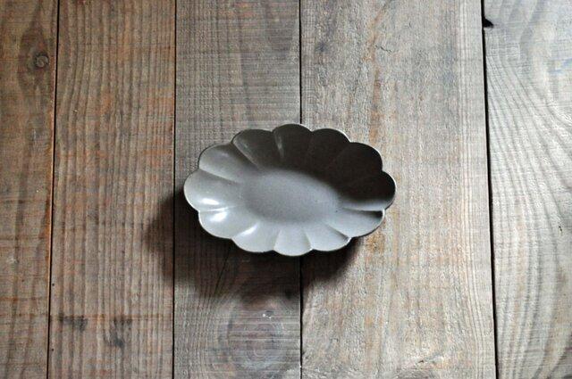 輪花楕円6寸鉢/グレーの画像1枚目