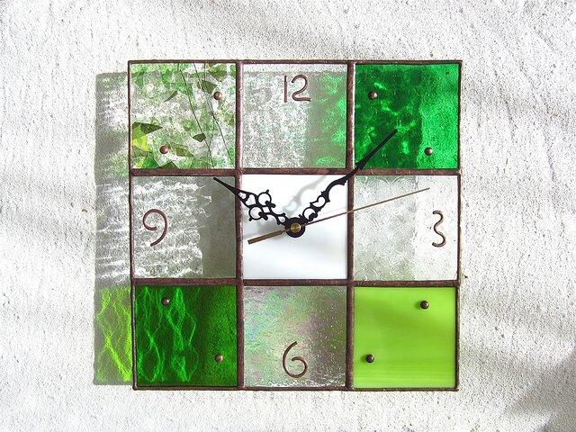 【24㎝×24㎝】ステンドグラス*掛時計・モザイクB(緑)Lの画像1枚目