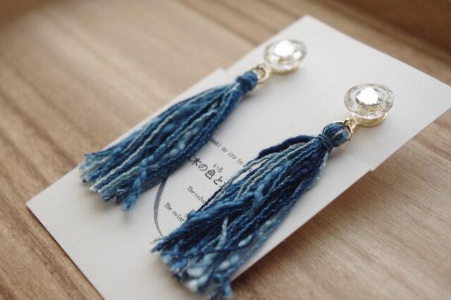 Japan blue ガラスのボタンと藍染糸タッセルのイヤリング 3色ミックス(納戸+浅葱+かめのぞき)の画像1枚目
