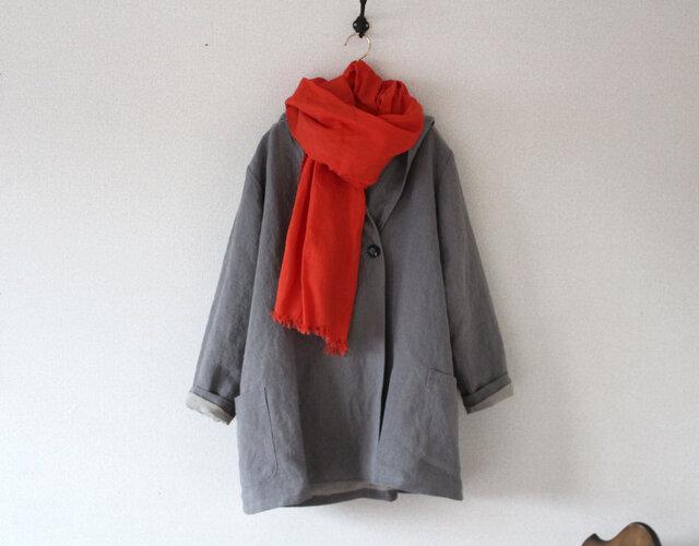 【冬NEW】 厚手ベルギーリネンの男女兼用フーテッドコート H75の画像1枚目