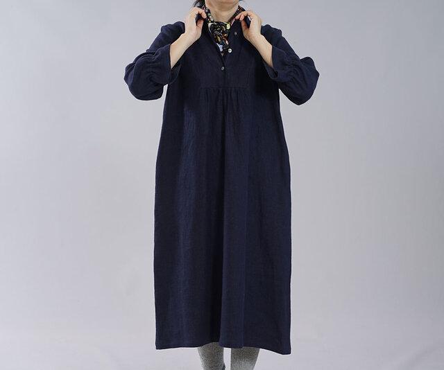 【wafu】厚地 表起毛 リネンワンピース 暖かい カッタウェイ linen100% / ネイビー a031c-neb3の画像1枚目