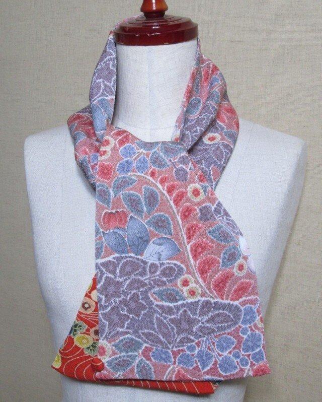 着物リメイク 2way 16cm幅辻ヶ花模様の縮緬着物から上品なミニストールの画像1枚目