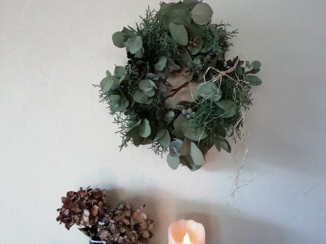 ユーカリとアジサイの冬wreath 37cmの画像1枚目