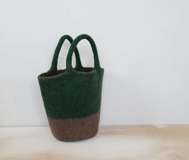 バケツバッグ(深緑*薄茶)の画像1枚目