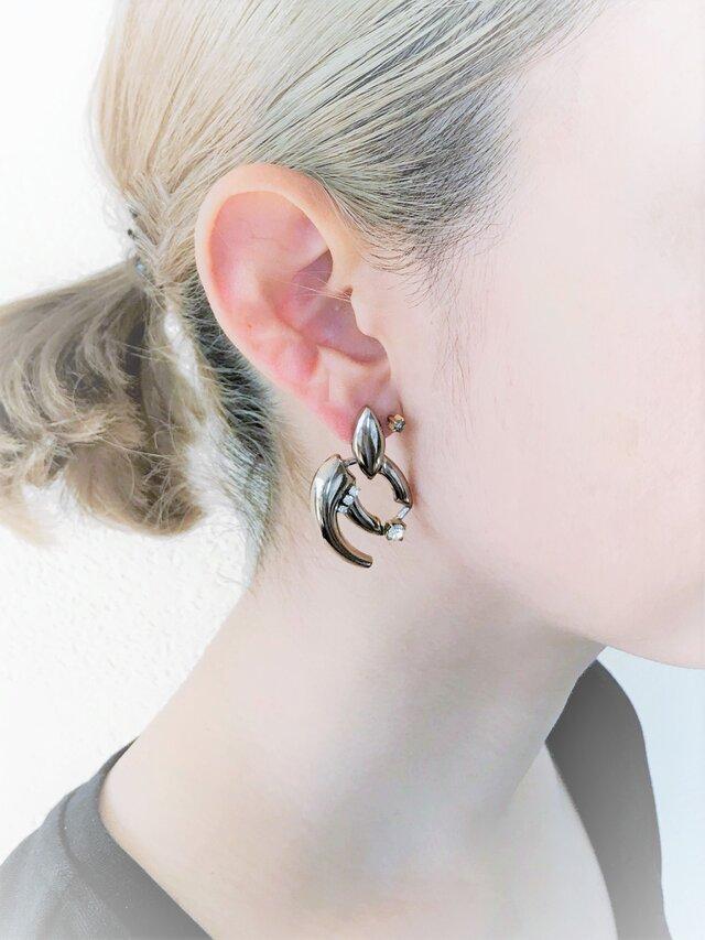 シルバーモチーフピアス vintage earrings CV <PE4 -L19>の画像1枚目