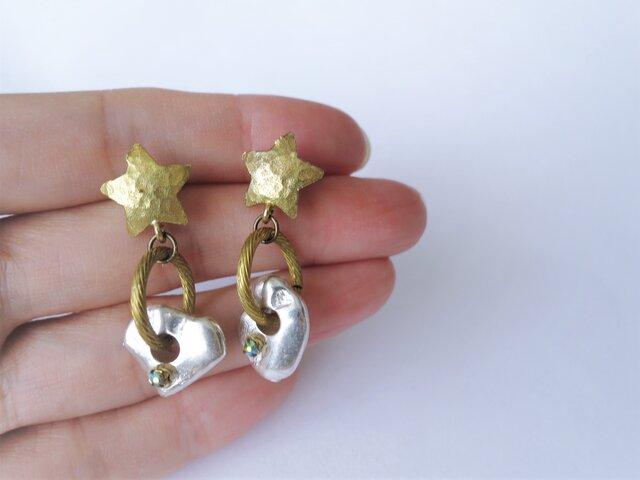 スター&シルバーナゲットピアス vintage earrings star SV <PE6-L19>の画像1枚目