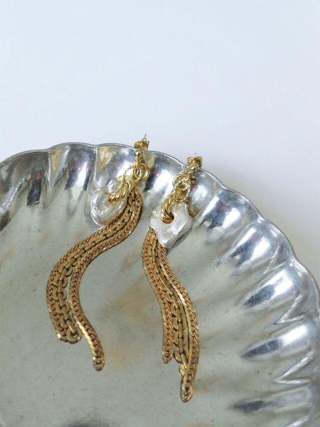 2ウェイピアス シルバーナゲット&フリンジ vintage earrings fringe SV <PE7 -L19>の画像1枚目