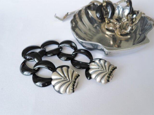 シェル&ブラックチェーンブレスレット vintage bracelet coin <BL2-L19>の画像1枚目
