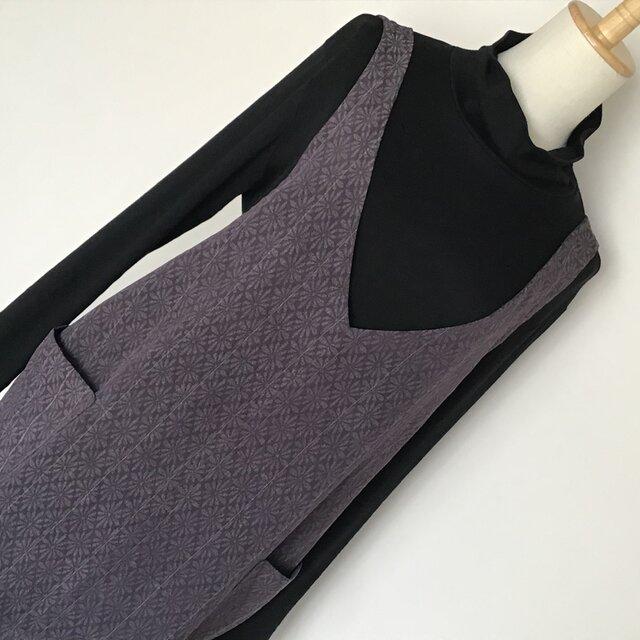 1223    着物リメイク M寸法のコクーンジャンバースカート   お召の画像1枚目