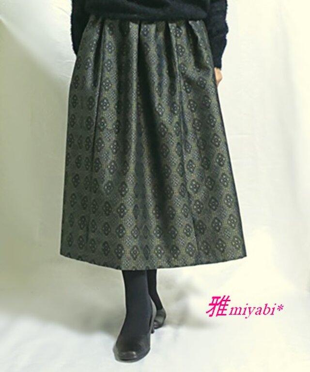 1点もの☆着物リメイク☆裏付あったかウール着物スカートの画像1枚目