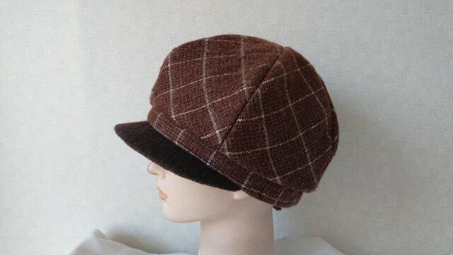 魅せる帽子☆軽くてあったか♪モヘアウールのふわもこキャスケット~ブラウンの画像1枚目