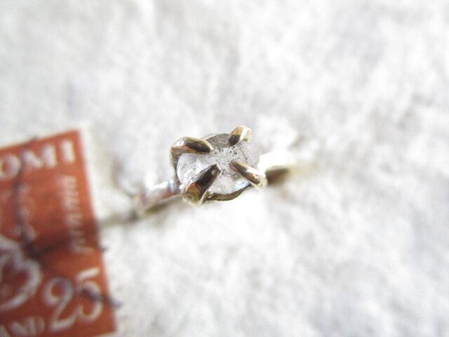 真鍮 ハーキマーダイヤモンド リングの画像1枚目
