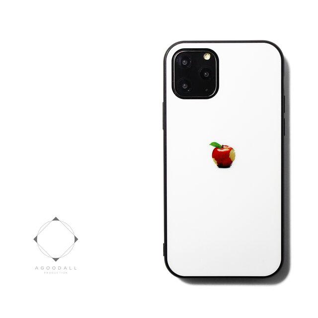 【曲げても落としても割れないガラス】 iphoneケースカバー(ホワイト×ブラック)赤リンゴ 耐衝撃 11/11pro~の画像1枚目