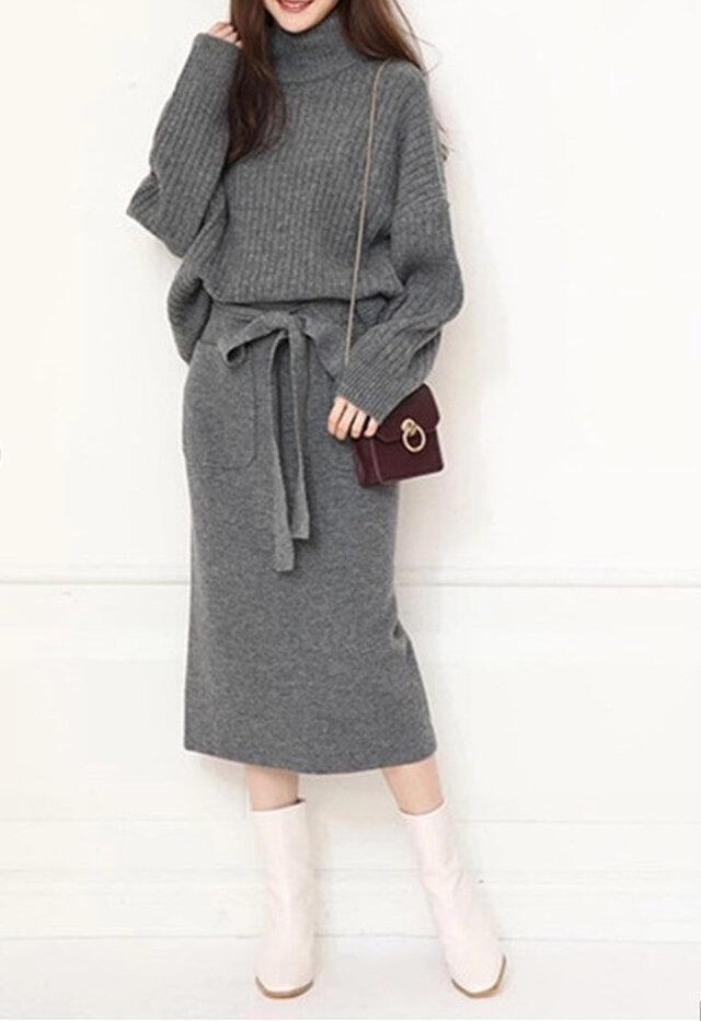 【受注製作】カシミアセット・トップス+スカート ニット オーダーメイド 豊富な色 H089の画像1枚目