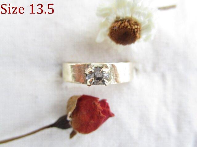 真鍮 ハーキマーダイヤモンド 板 リングの画像1枚目